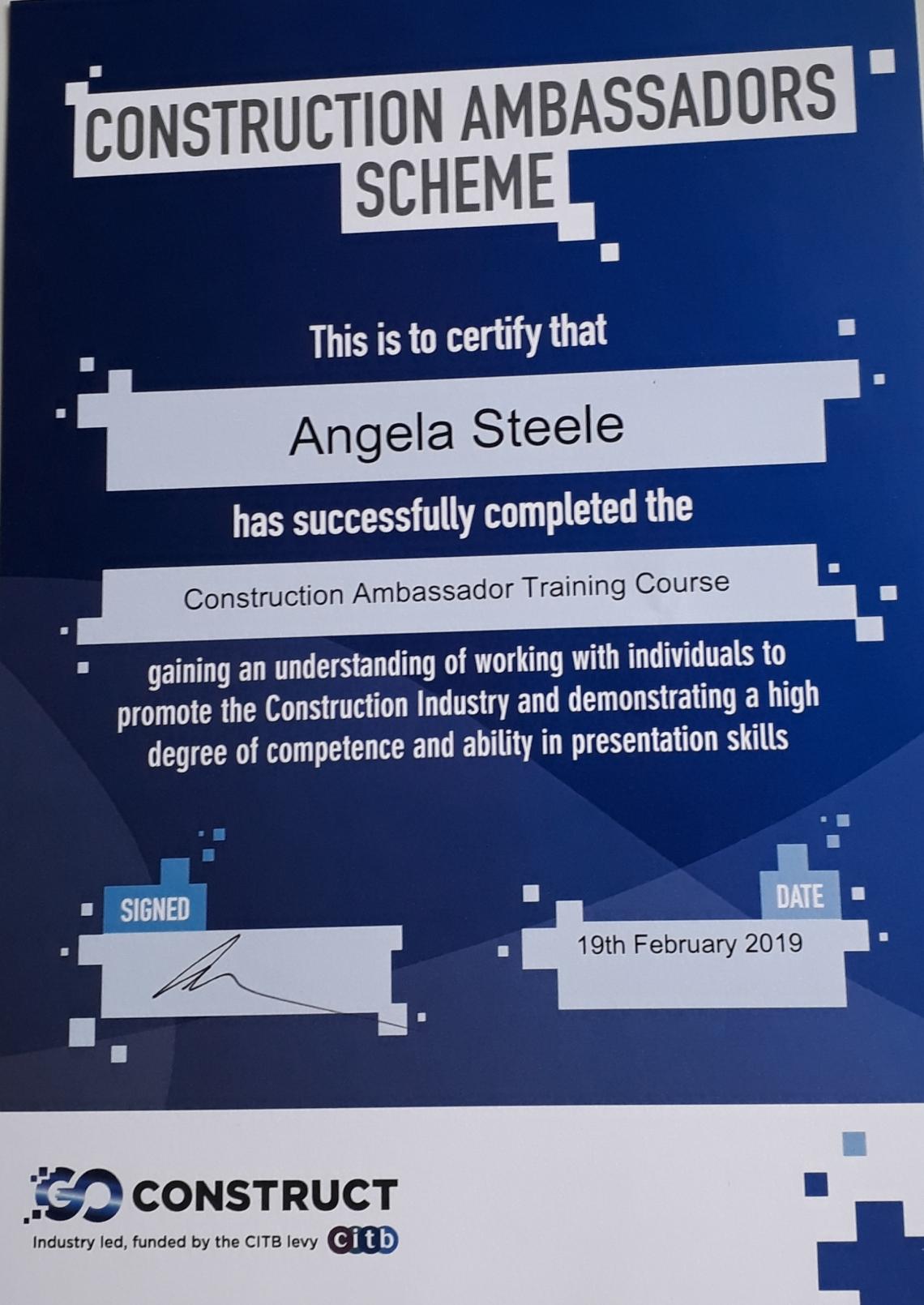 Construction Ambassadors Certificate